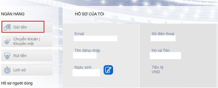 chọn lệnh gửi tiền