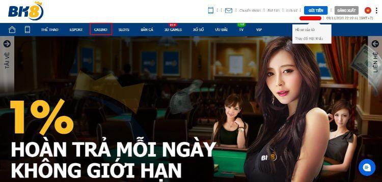 Giao diện Casino BK8
